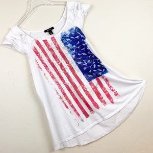 STYLE & CO.4th of July Picnic Bling Ruffle T Top L